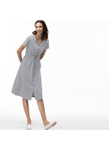Lacoste Kadın V Yaka Elbise EF0049.49A Mavi
